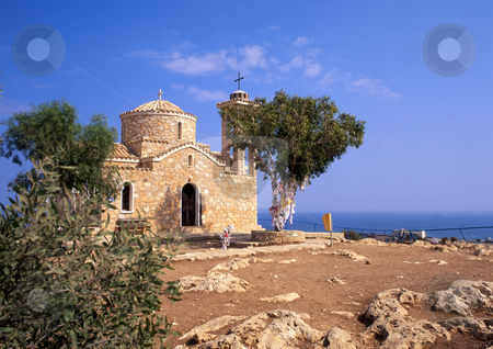 Rural stone church stock photo, A small stone church on a hill overlooking protaras on the island of Cyprus by Paul Phillips