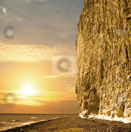 Golden cliff stock photo, The white cliffs of the Sussex Downs by Paul Phillips