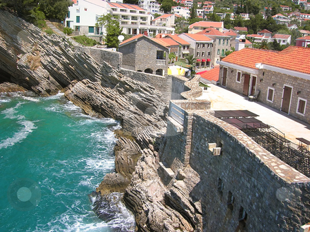Town by sea stock photo, Cityscape of Petrovac in Montenegro by Adriatic sea by Julija Sapic