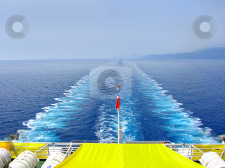 Vessel trace on seawater stock photo, Water foam trace behind large passenger ship on adriatic sea by Julija Sapic