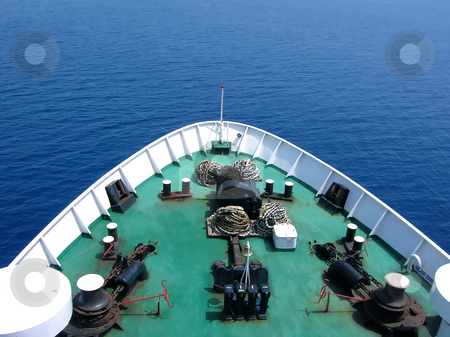Bow of a ship from above stock photo, Green bow of huge passenger ship over sea by Julija Sapic