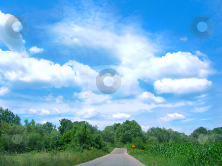 Country road stock photo, Country road between green meadow  blue sky by Julija Sapic