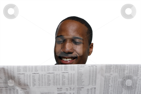 Man Smiling - Horizontal stock photo, Man smiling while reading the paper. Horizontal shot, isolated against a white background by Orange Line Media