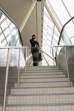 Businesswoman on Stairs - Wide Angle stock photo, Attractive businesswoman smiling and talking on her phone as she stands at the top of the stairs. Vertically framed, wide angle shot. by Orange Line Media