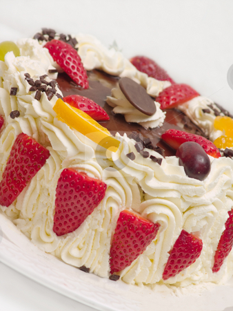Delicious cream layer cake with strawberries stock photo, Delicious cream layer cake with  strawberries by Phillip Dyhr Hobbs