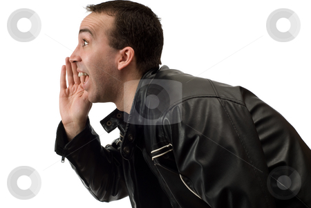 Yelling stock photo, Closeup view of a man yelling something, isolated against a white background by Richard Nelson