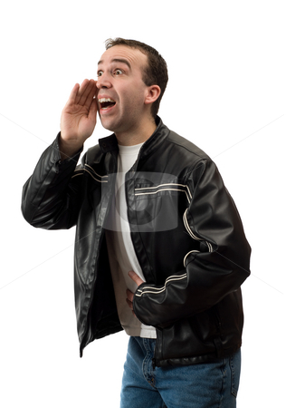 Man Shouting stock photo, A young man bent over shouting something, isolated against a white background by Richard Nelson