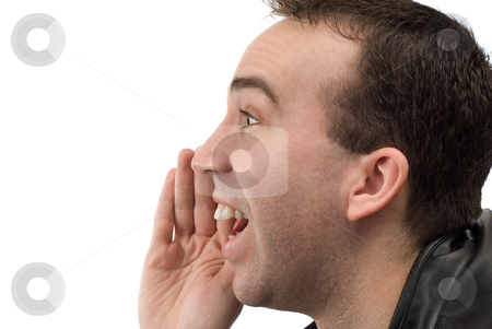 Closeup Shouting stock photo, Closeup view of a mans head shouting something, shot with a profile view, isolated against a white background by Richard Nelson