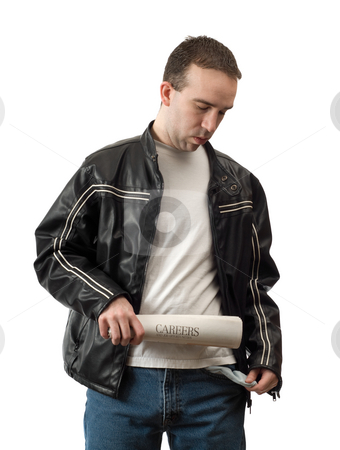 Pessimistic stock photo, A pessimistic man is losing hope while looking for a job, isolated against a white background by Richard Nelson