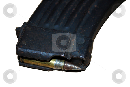 Bullet stock photo, Close up view of bullet and magazine for machine-gun isolated by Tudor Antonel adrian
