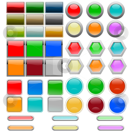 Interface Parts stock vector clipart, Set of glossy buttons and panels by Ira J Lyles Jr
