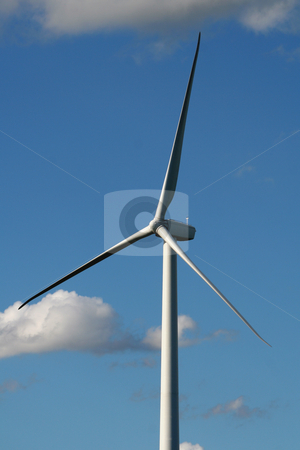 Wind Turbine stock photo, A close up of wind turbine shot against a blue sky. by Chris Hill