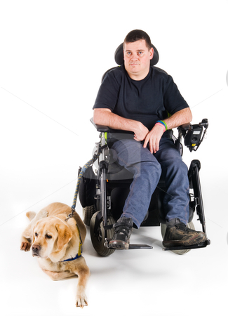 Guide dog stock photo, Labrador guide dog and his proud owner by Tommy Maenhout