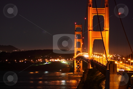 Golden Gate Bridge stock photo, The Golden Gate Bridge at night in San Francisco California by Richard Clack