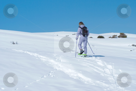 Snowshoe stock photo, Woman climbing a moutain with snowshoes. South of Alps (French Riviera) by Serge VILLA