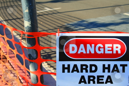 Danger Hard Hat Area Sign stock photo,  by Michael Felix