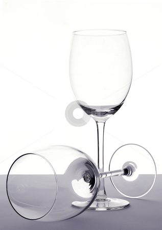 Empty wineglasses stock photo, Two empty wineglasses by Paul Turner