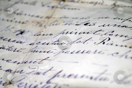 Hand Written Text stock photo, Vintage hand writing on a letter. Old paper with visible structure. Pen ink by Tudor Antonel adrian