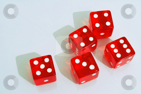 Dice stock photo, Five red dice on a white background by Tudor Antonel adrian