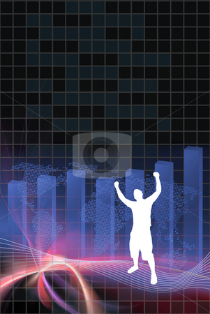 Profitable Business Success stock photo, World business illustration with plenty of copyspace.  A silhouette of a man is raising his arms up in the air in victory. by Todd Arena