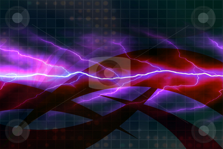 Electricity Backdrop stock photo, A background texture with bright glowing electricity flowing through the center. by Todd Arena