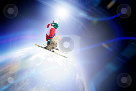 Ski Jumper stock photo, Abstract skier catching some major air flying through outer space. by Todd Arena
