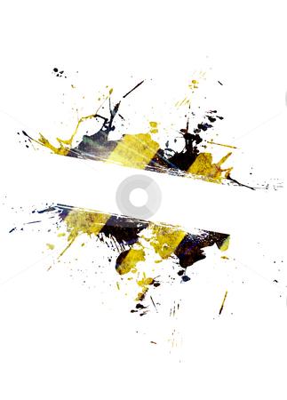 Hazard Stripes Splatter stock photo, A hazard stripes paint splatter frame in black and yellow. by Todd Arena