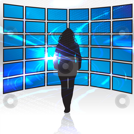 World of Digital Media stock photo, A silhouette of a woman standing in front of a wall of tv screens. by Todd Arena
