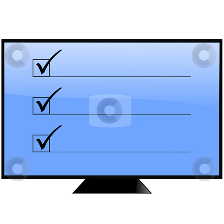 Survey stock vector clipart, Screen with boxes and check marks by Ira J Lyles Jr