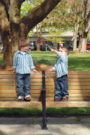 Two Young Brothers - Park Bench stock photo, Two young brothers wearing matching shirts standing on park benches. by Orange Line Media