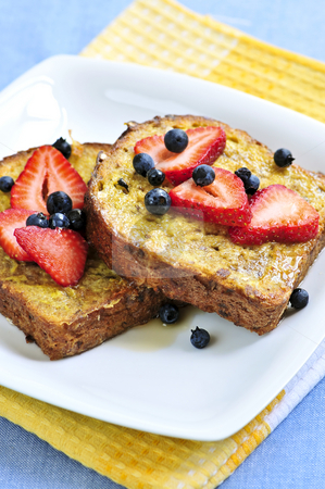 French toast stock photo, Breakfast of french toast with fresh berries and maple syrup by Elena Elisseeva