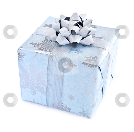 Christmas gift box stock photo, Wrapped christmas gift box isolated on white background by Elena Elisseeva