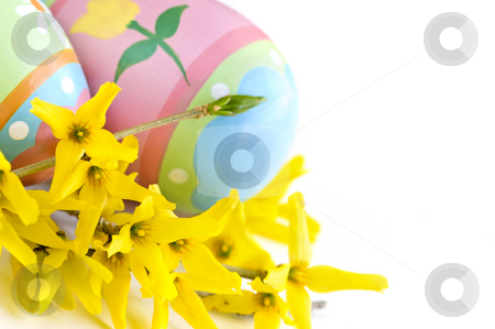 Easter eggs stock photo, Easter eggs arrangement with spring flowers isolated on white background by Elena Elisseeva