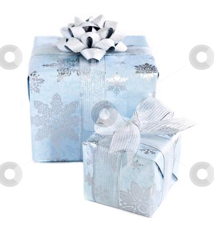 Christmas gift boxes stock photo, Two wrapped christmas gift boxes isolated on white background by Elena Elisseeva