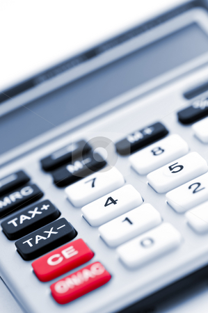 Tax calculator keypad stock photo, Closeup on tax calculator keypad with red black and white buttons by Elena Elisseeva