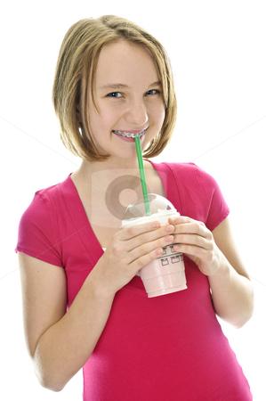 Teenage girl with milkshake stock photo, Teenage drinking strawberry milkshake isolated on white background by Elena Elisseeva