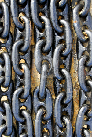 Closeup of chains stock photo, Closeup of many strong metal chain links by Elena Elisseeva