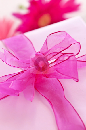 Pink gift box stock photo, Gift box wrapped in pink paper with ribbon and bow by Elena Elisseeva