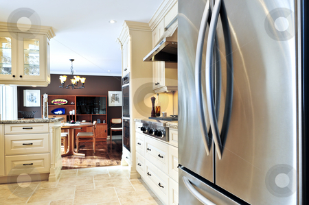 Kitchen interior stock photo, Interior of modern luxury kitchen with stainless steel appliances by Elena Elisseeva
