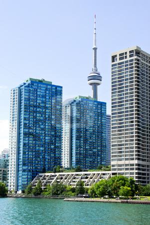 Toronto skyline stock photo, Toronto harbor skyline with CN Tower and condos by Elena Elisseeva