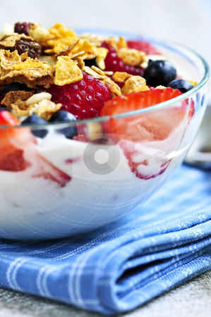 Yogurt with berries and granola stock photo, Serving of yogurt with fresh berries and granola by Elena Elisseeva