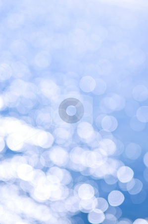 Blue and white background stock photo, Out of focus bokeh background of blue water with sun reflections. Can be used as Christmas or winter backdrop. by Elena Elisseeva