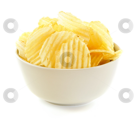 Potato chips stock photo, Bowl of potato chips isolated on white background by Elena Elisseeva