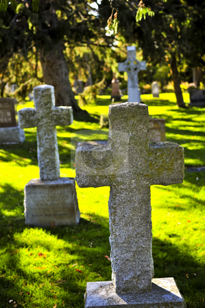 Graveyard with tombstones stock photo, Bright graveyard lawn with ancient tombstone crosses by Elena Elisseeva