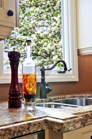 Modern kitchen interior stock photo, Modern luxury kitchen interior with granite countertop by Elena Elisseeva