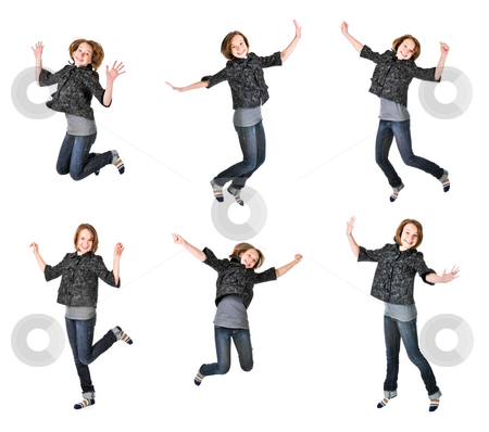 Teenage girl jumping on white background stock photo, Teenage girl jumping isolated on white background, several poses by Elena Elisseeva