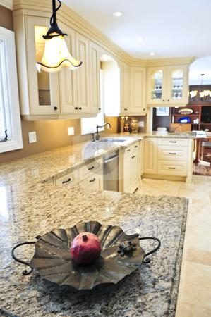 Kitchen interior stock photo, Interior of modern luxury kitchen with granite countertop by Elena Elisseeva
