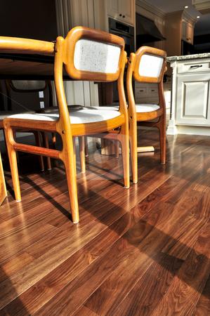 Hardwood floor stock photo, Hardwood walnut floor in residential home dining room by Elena Elisseeva