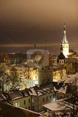 Night view of Tallinn stock photo, Night view of Tallinn by Andrea Bronzini