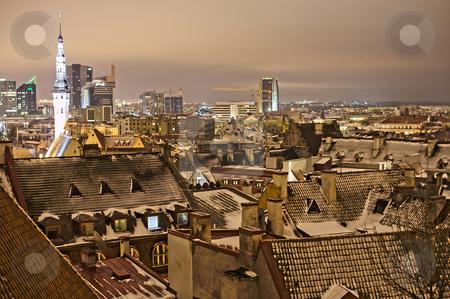 Night view of Tallinn stock photo, Night view of Tallinn. Rooftops by Andrea Bronzini